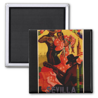 Vintage flamenco dancers Spanish Square Magnet