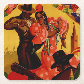 Vintage flamenco dancers Spanish Square Paper Coaster