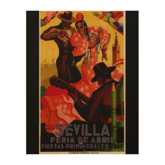 Vintage flamenco dancers Spanish Wood Wall Art