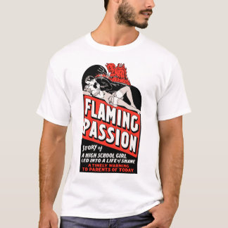 """Vintage """"Flaming Passion"""" Movie Poster T-Shirt"""