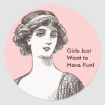 Vintage Flapper Beauty Girls Just Want to Have Fun Round Sticker