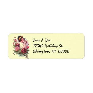 Vintage Flapper Enjoys Roses Address Labels