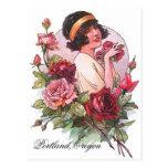 VINTAGE Flapper W/ Roses Portland OR POSTCARD