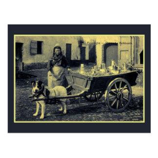 vintage Flemish milkmaid, dog cart Postcard