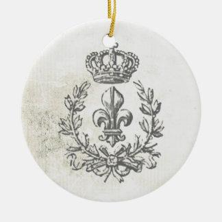 Vintage Fleur de Lis and Crown-ornament Christmas Ornament