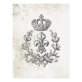 Vintage Fleur de Lis and Crown-postcard