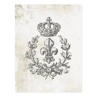 Vintage Fleur de Lis and Crown-postcard Postcard