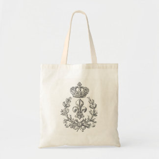 Vintage Fleur de Lis and Crown-tote bag