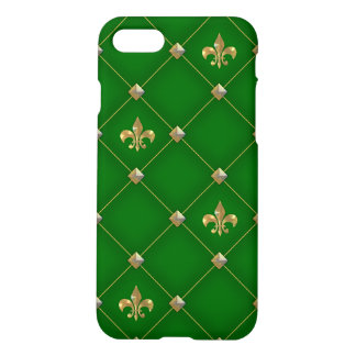 Vintage Fleur de Lis Dark Green Pattern iPhone 8/7 Case