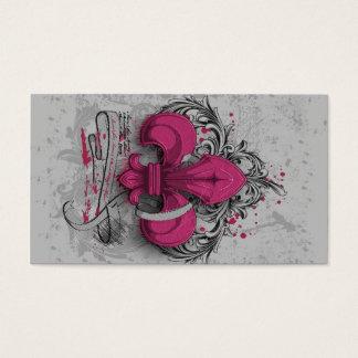 Vintage fleur-de-lis  hot pink metal grunge effect business card