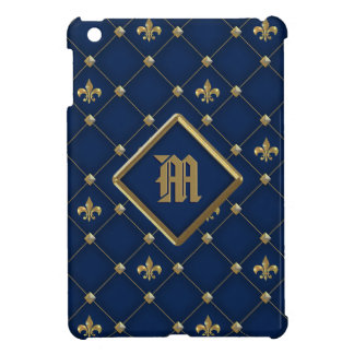 Vintage Fleur de Lis on Dark Navy Blue Pattern Cover For The iPad Mini