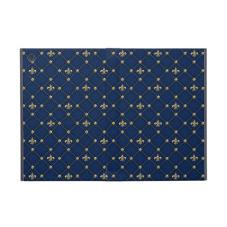 Vintage Fleur de Lis on Dark Navy Blue Pattern iPad Mini Cover