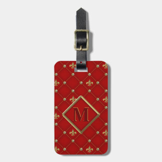 Vintage Fleur de Lis on Deep Rich Red Pattern Luggage Tag