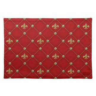 Vintage Fleur de Lis on Deep Rich Red Pattern Placemat