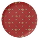 Vintage Fleur de Lis on Deep Rich Red Pattern Plate