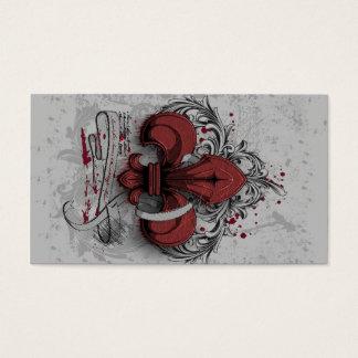 Vintage fleur-de-lis red metal grunge effects