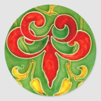 Vintage Fleur de Lis Tile Arts Crafts Art Nouveau Classic Round Sticker
