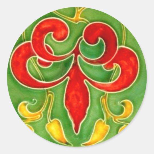Vintage Fleur de Lis Tile Arts Crafts Art Nouveau Classic Round Sticker