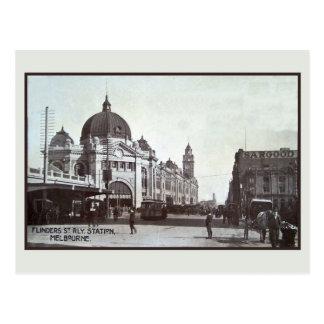 Vintage Flinders Street, station, Melbourne Postcard