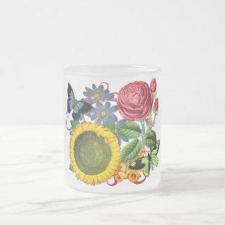 Vintage Flora Frosted Glass Mug