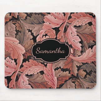 Vintage Floral Acanthus Pattern with Monogram Mouse Pad