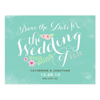 Vintage Floral Affair Save the Date Postcard