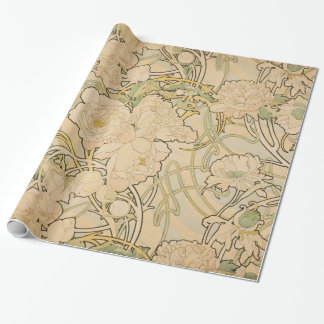 Vintage Floral Alphonse Mucha Peonies GalleryHD Wrapping Paper