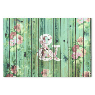 Vintage Floral Ampersand Turquoise Beach Wood Tissue Paper
