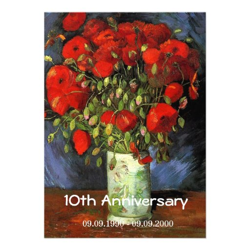 Vintage floral anniversary Vase with Red Poppies Invite