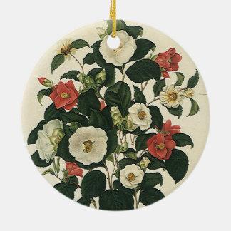 Vintage Floral, Antique Garden Roses Flowers Round Ceramic Decoration