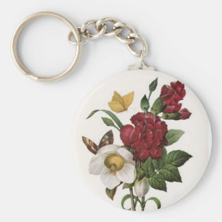 Vintage Floral Art Basic Round Button Key Ring