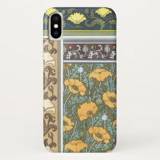 Vintage Floral Art Nouveau Poppy Flowers iPhone X Case