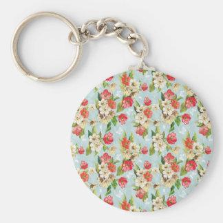 Vintage floral background basic round button key ring