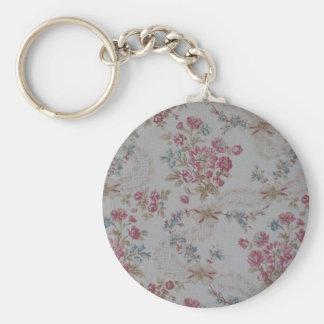Vintage Floral Basic Round Button Key Ring