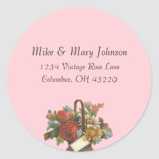 Vintage Floral Basket on Pink Address Labels