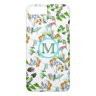Vintage Floral Birds Monogram iPhone 7 Plus iPhone 8 Plus/7 Plus Case