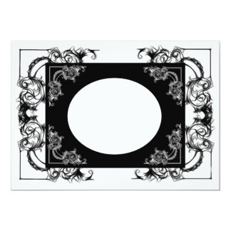VINTAGE FLORAL BLACK AND WHITE DAMASK INVITATION