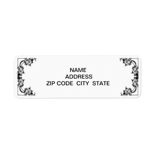 VINTAGE FLORAL BLACK AND WHITE label Return Address Label