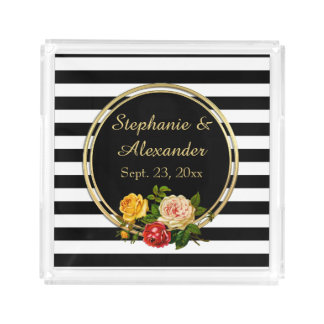 Vintage Floral Black and White Stripe Personalized