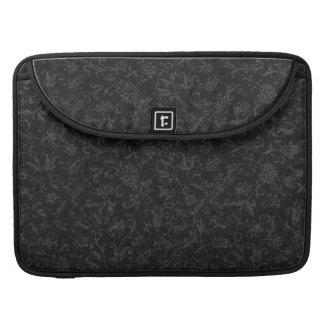 Vintage Floral Black Macbook Pro Flap Sleeve Sleeves For MacBooks