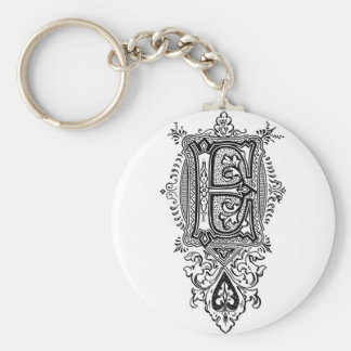 Vintage Floral Black Monogram E Basic Round Button Key Ring