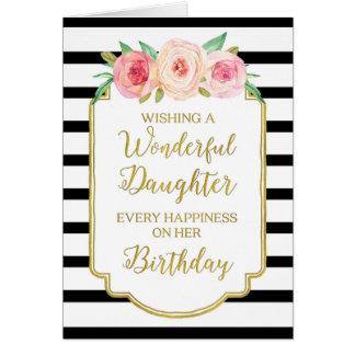 Vintage Floral Black Stripe Daughter Birthday Card