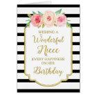 Vintage Floral Black Stripes Niece Birthday Card