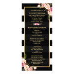 Vintage Floral Black White Striped Wedding Program Customised Rack Card