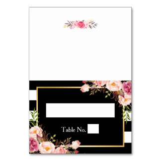 Vintage Floral Black White Stripes Wedding Place Table Cards