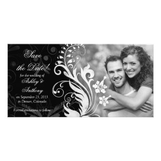 Vintage Floral Black White Wedding Save the Date Card
