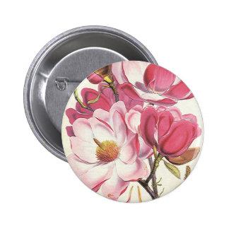 Vintage Floral, Blooming Pink Magnolia Flowers 6 Cm Round Badge