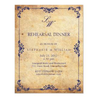 Vintage Floral Blue Monogram Rehearsal Dinner Card 11 Cm X 14 Cm Invitation Card