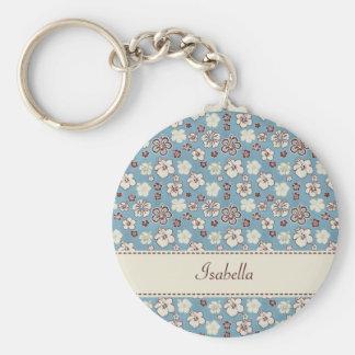 Vintage Floral Blue Pattern Basic Round Button Key Ring
