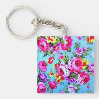 vintage Floral blue red pink key chain
